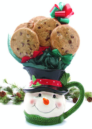Snowman Pitcher Cookie Gift Bouqet imagerjs