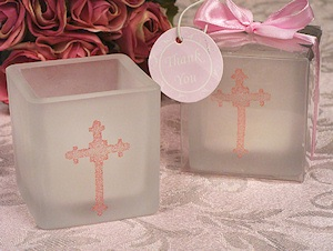 Ornate Cross Pink Glitter Square Candle Favors imagerjs