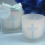 Ornate Cross Blue Glitter Candles