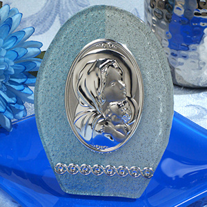 Blue and Silver Oval Glass Religious Icon Favor imagerjs