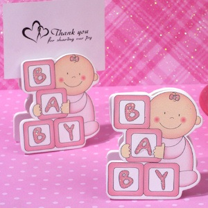 Oh How Cute Pink Baby Blocks Place Card Holder imagerjs