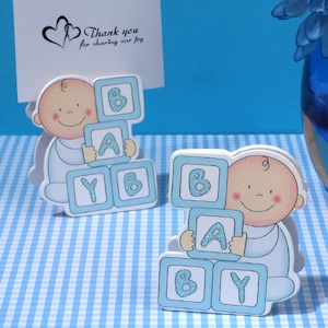 Oh How Cute Blue Baby Blocks Place Card Holder imagerjs
