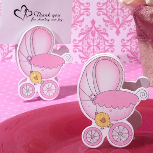 Adorable Pink Baby Stroller Place Card Holder imagerjs