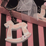 Pink Rocking Horse Keychain with Sparkling Star