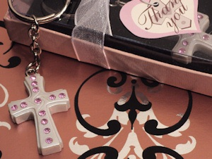 Blessed Event Pink Cross Keychain Favors imagerjs