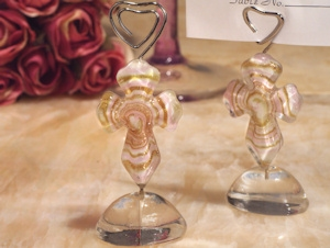 Art Deco Pink and Gold Glass Cross Place Card Holders imagerjs