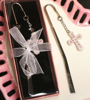 White Cross Page Marker with Pink Crystals imagerjs