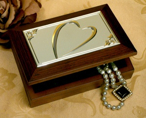 Wooden Jewelry Box with Embossed Heart Design imagerjs