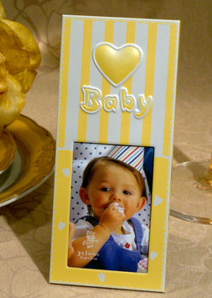 Yellow Embossed Heart Baby Photo Frame imagerjs