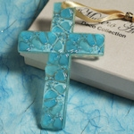 Art Deco Blue Pebble Glass Cross Favors