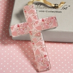 Art Deco Pink Pebble Glass Cross Favors