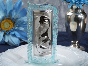 Art Deco Blue Pebble Curved Glass Religious Favors imagerjs
