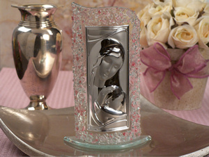 Art Deco Pink Pebble Curved Glass Religious Favors imagerjs