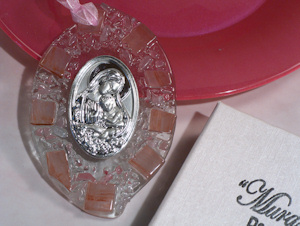 Pink Pebble Glass Oval Hanging Madonna and Baby Icon imagerjs