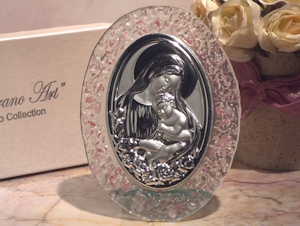 Art Deco Pink Pebble Design Oval Glass Religious Icon Favors imagerjs