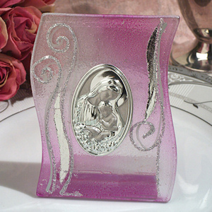 Lilac and Silver Wave Glass Religious Icon Favor imagerjs