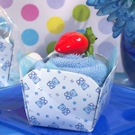 Blue Teddy Bear Designed Cupcake Towel Favor