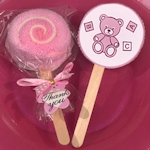 Pink Teddy Bear Designed Lollipop Towel Favor