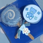 Blue Teddy Bear Designed Lollipop Towel Favor