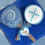 Blue Cross Designed Lollipop Towel Favor