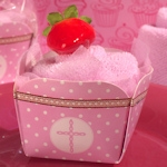 Pink Cross Designed Cupcake Towel Favor