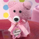 Cute and Cuddly Pink Teddy Bear Towel Favor