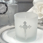Silver Cross Glitter Candle