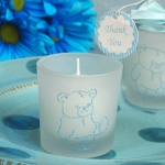 Blue Bear Glitter Candle