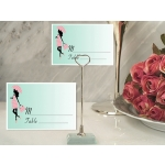 Pink Stripes Baby Shower Place Card with Metal Holder