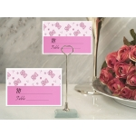Pink Teddy Bear Place Card with Metal Place Card Holder