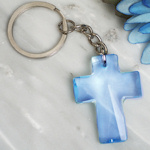 Blessed Events Blue Cross Keychain Favors