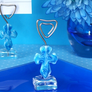 Murano Blue Glass Cross Place Card Holder imagerjs