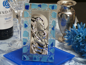 Murano Blue Pebble Mary and Baby Favors imagerjs