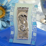 Art Deco Wave Blue Glass Religious Favors
