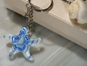Blue Murano Glass Starfish Keychain Shower Favors imagerjs