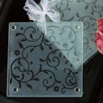 Frosted Damask Coaster Baby Shower Favors