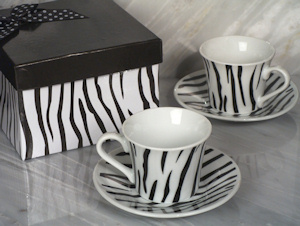 Zebra Designed Espresso Cup and Saucer Set imagerjs