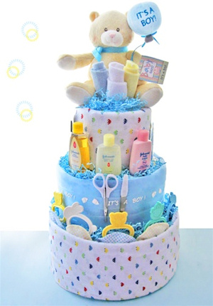 Welcome Baby Boy Diaper Cake data-pin-no-hover=