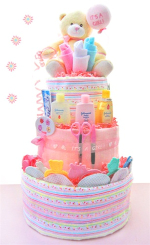 Welcome Baby Girl Diaper Cake data-pin-no-hover=