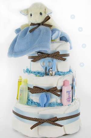 Little Lamb 3 Tier Boy Diaper Cake image