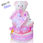 My First Teddy Two Tier Diaper Cake