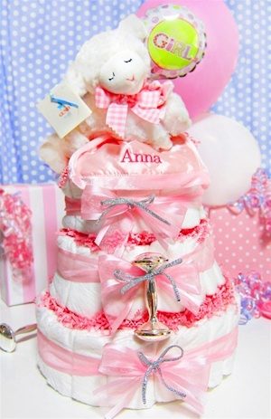Musical Prayer Lamb 3 Tier Diaper Cake image