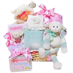 Personalized Lamby Moses Baby Girl Basket