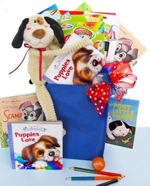 Spunky Puppy Gift Basket data-pin-no-hover=