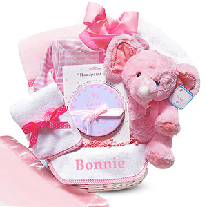 Personalized Minky Dots Baby Girl Basket imagerjs