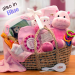 Precious Baby Moses Basket Gift (Pink or Blue)