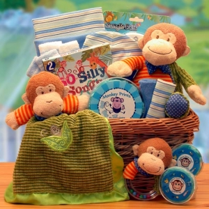 New Little Monkey Baby Gift Basket imagerjs