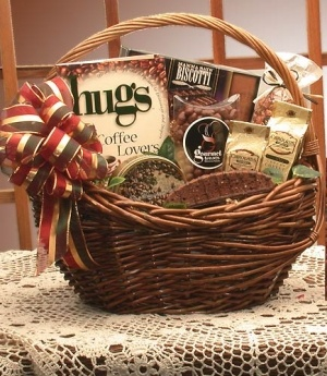 Hugs For Coffee Lovers Gourmet Gift Basket data-pin-no-hover=