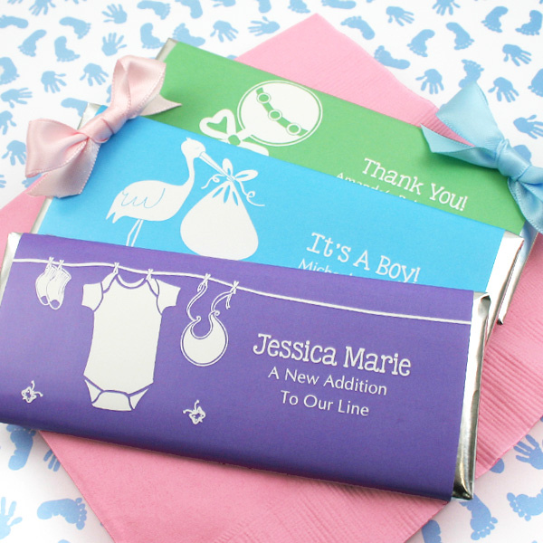 baby shower personalized chocolate bar favors gift baskets
