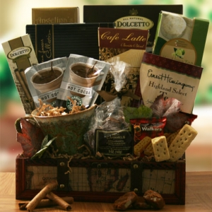Trifecta Coffee Tea and Cocoa Gift Basket imagerjs